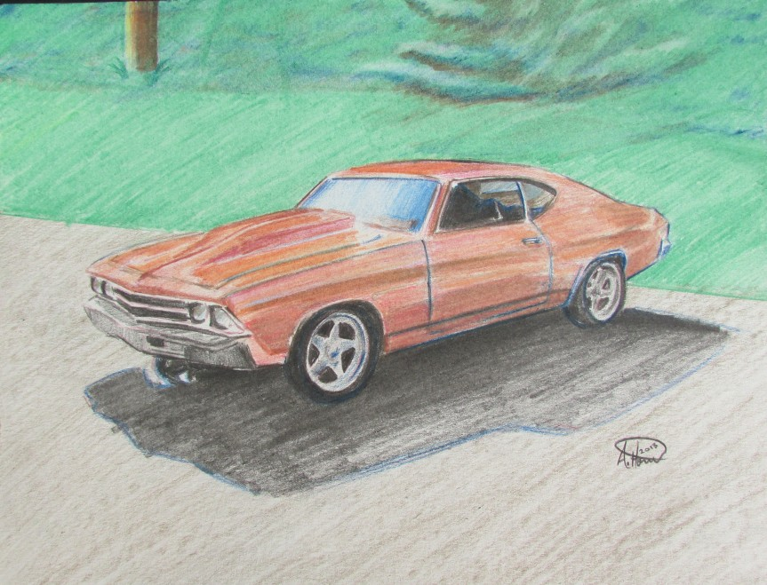 1969 Chevelle Colored Pencil Drawing.  8″x10″
